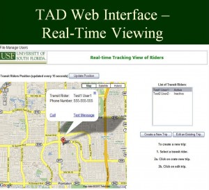 The user views the TAD website in real time.