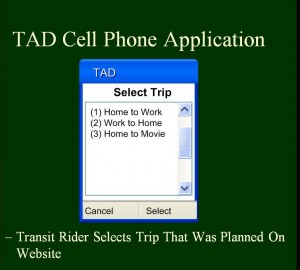 The transit rider selects the trip previously planned on the website.