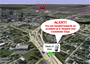 A traffic alert is delivered to a traveler based on their individual past travel behavior and predicted travel path.