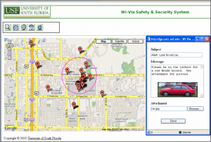 Screenshot of WiVia website showing ability to send multimedia messages to phones based on their location