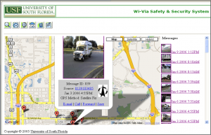 Screenshot of the WiVia website showing a geo-stamped video message from a cell phone