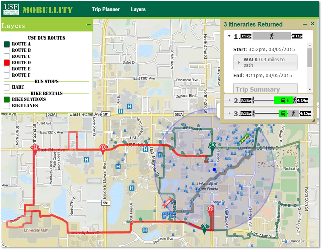 USF Travel Options App LocationAware Information Systems Laboratory - Usf location map